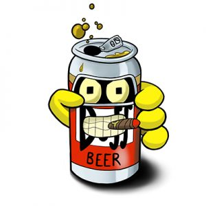 Bender from Futurama recycled into a Duff beer can