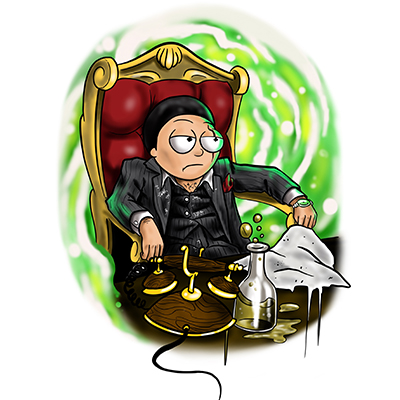 Morty from Rick and Morty as Tony Montana from Scarface
