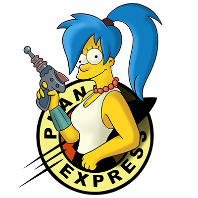 Mash up between Marge from The Simpsons and Leela in Planet logo from Futurama.